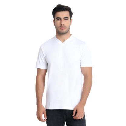 Reich Color Dot Net V Neck T Shirt White