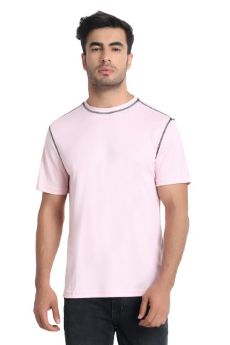 Reich Color Dot Net Round Neck T Shirt Pink