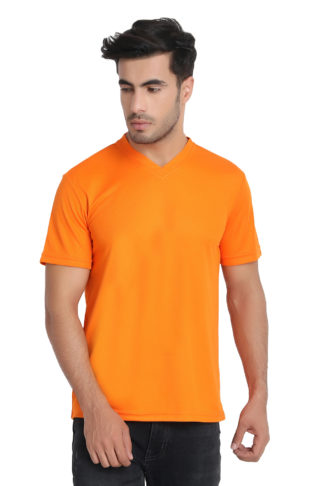 Reich Color Dot Net V Neck T Shirt Orange