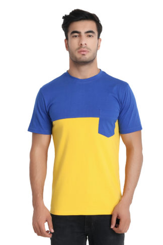 Reich Color PC Single Jurcy Round Neck Two Color T Shirt