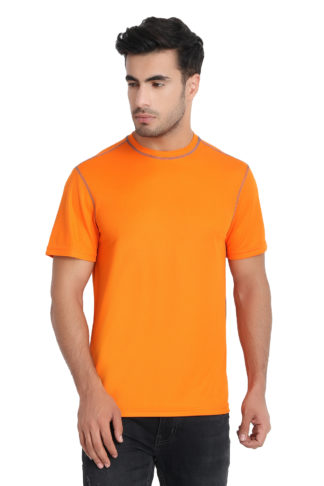 Reich Color Dot Net Round Neck T Shirt Orange