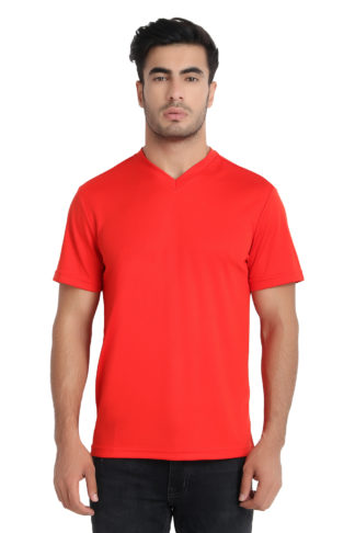 Reich Color Dot Net V Neck T Shirt Red