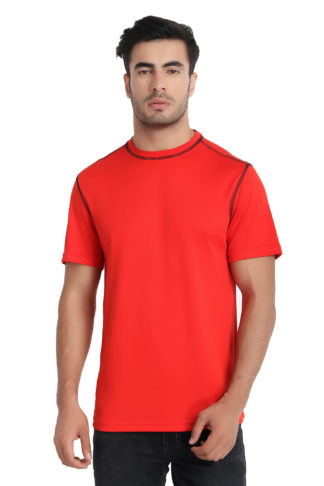 Reich Color Dot Net Round Neck T Shirt Red
