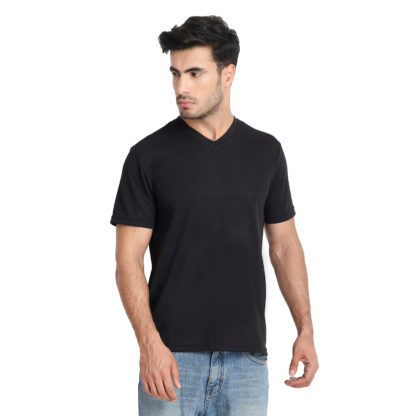 Reich Color Dot Net V Neck T Shirt Black