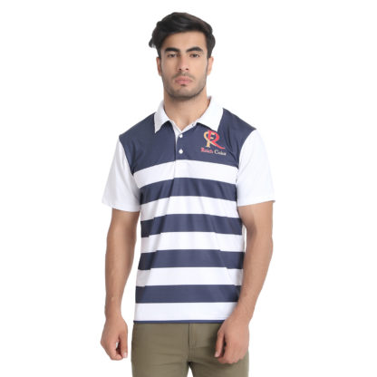 Reich Color 4 Way Lycra Sublimation Polo T Shirt Navy White