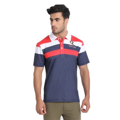 Reich Color 4 Way Lycra Sublimation Polo T Shirt Red Navy