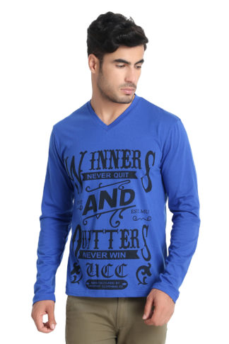 Reich Color PC Single Jurcy V Neck Printed T Shirt Royal Blue