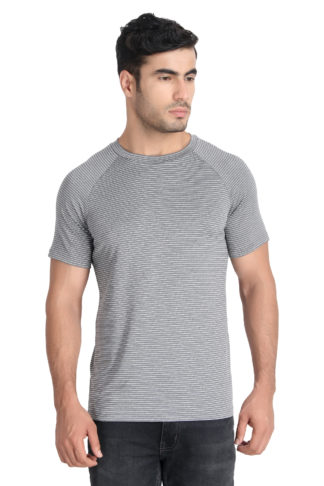 Reich Color 4 Way Lycra Striped Round Neck T Shirt Dark Grey