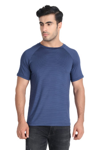 Reich Color 4 Way Lycra Striped Round Neck T Shirt Navy