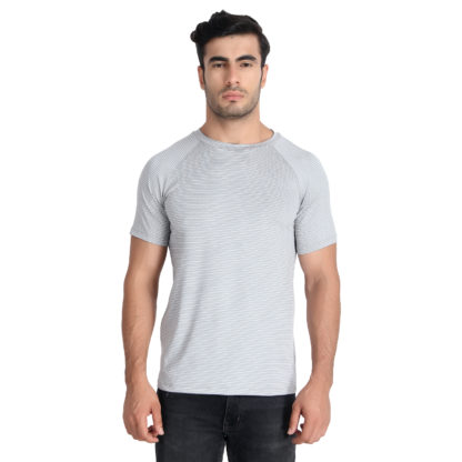 Reich Color 4 Way Lycra Striped Round Neck T Shirt Light Grey