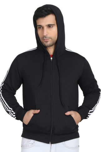 Fleece Three Patti Hoody Black