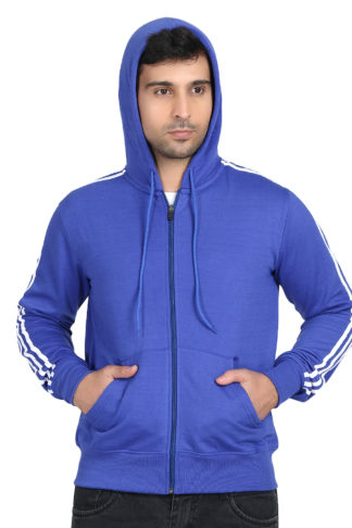 Fleece Three Patti Hoody Royal Blue