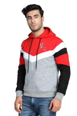 Pc Fleece Multi Color Red Hoody